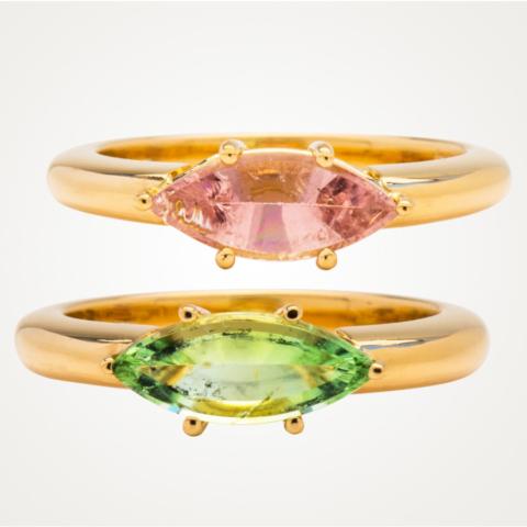 2 Ringe mit pastellfarbenen Turmalinen im Navette-Schliff