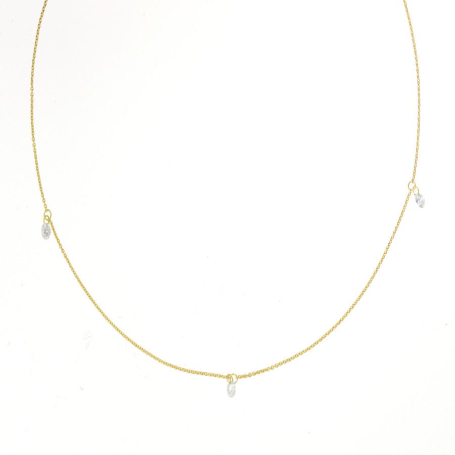 Filigrane Goldkette mit drei kleinen Brillanten