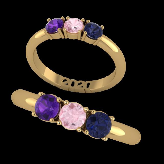 Ring mit Jahreszahl 2020 und farbigen Edelsteinen
