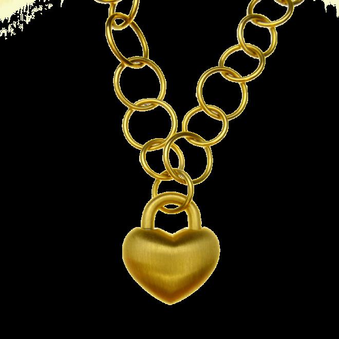 Anhänger Liebesschloss in Herzform in 750 Rosegold, Ösenkette in 750 Rosegold