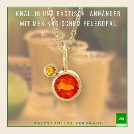 Anhänger mit leuchtend orangefarbenem mexikanischem Feueropal gefasst in 750ger Gelbgold