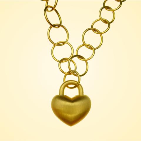 Anhänger in Herzform als Liebesschloss mit ausdrehbarer Öse und Ösenkette in 750/-Gold