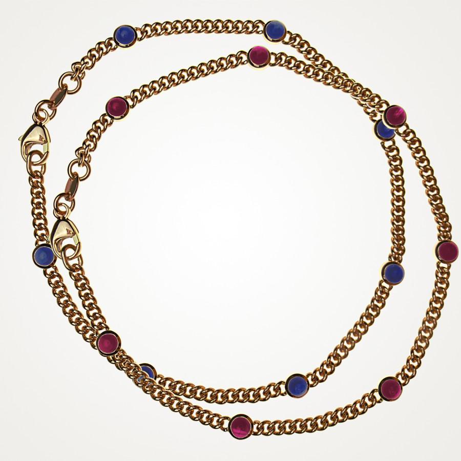 Mini-Armbänder in Rotgold mit Rubin- und Safir-Cabochons