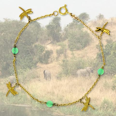 Armband mit Libellen Anhängern und grünen Achaten in 585 Gelbgold