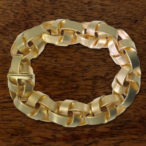 breites Armband im Knotenmuster, Silber mit 750 Gold plattiert