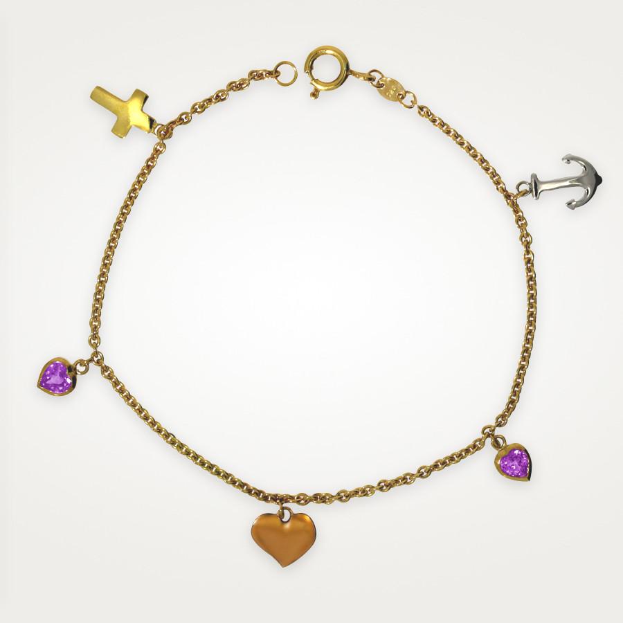 Armband in Gelbgold mit Glaube-Liebe-Hoffnung-Anhängern und zwei rosa Saphir-Herzen