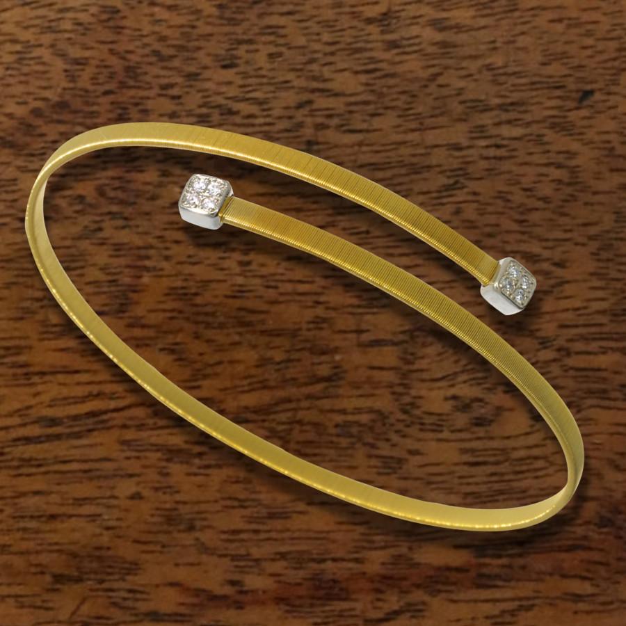 flexibler Armreifen in Gelbgold mit Brillanten