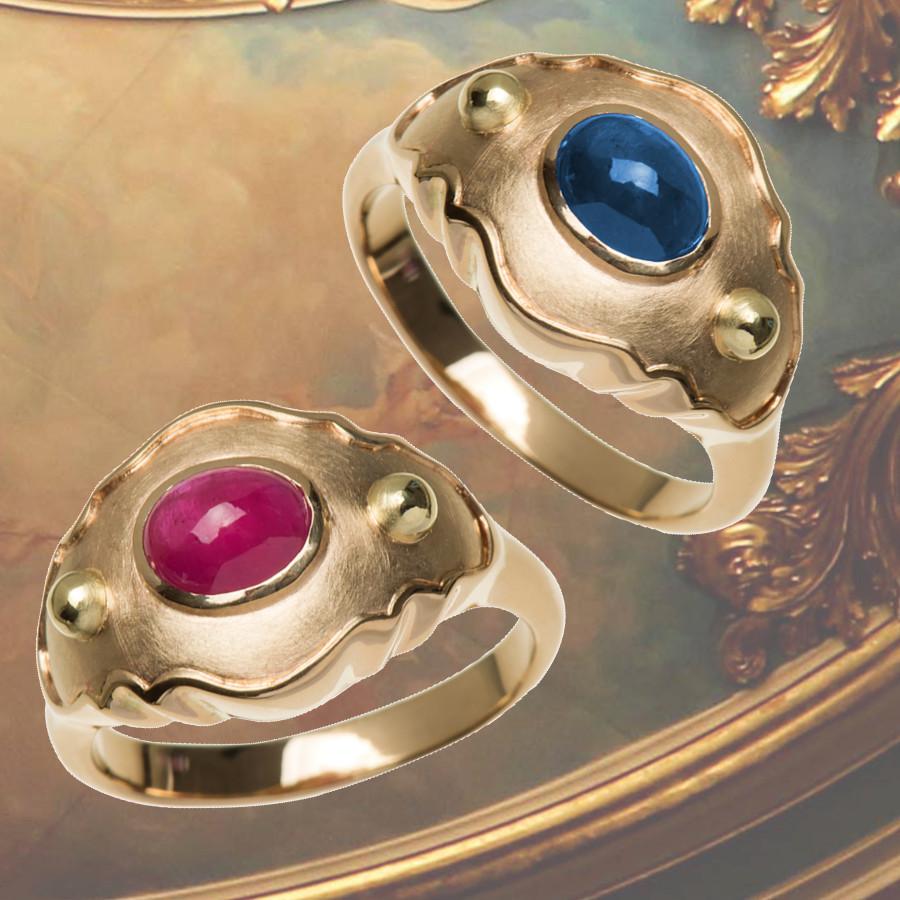 Ringe in  Barockform mit Rubin-Cabochon oder Safir-Cabochon