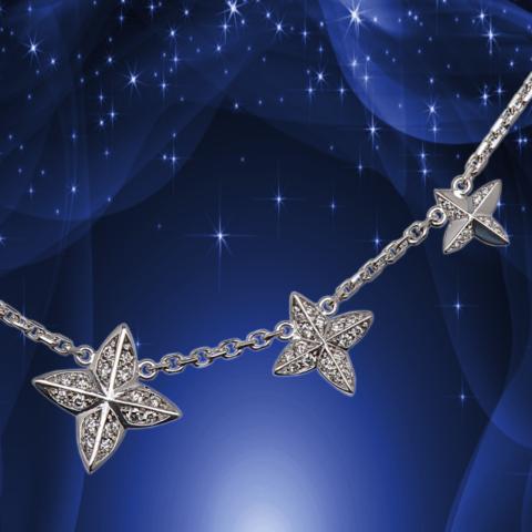 Collier mit brilllantbestzten Sternen aus Weißgold