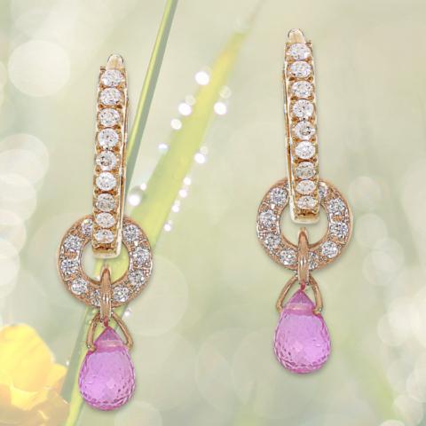 Creolen aus Rotgold mit Brillanten und Charm-Einhängern mit Brillanten und rosa Saphiren