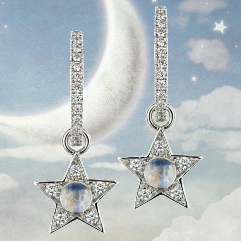 Creolen Brillanten, Einhänger Brillant-Sterne mit Mondsteinen