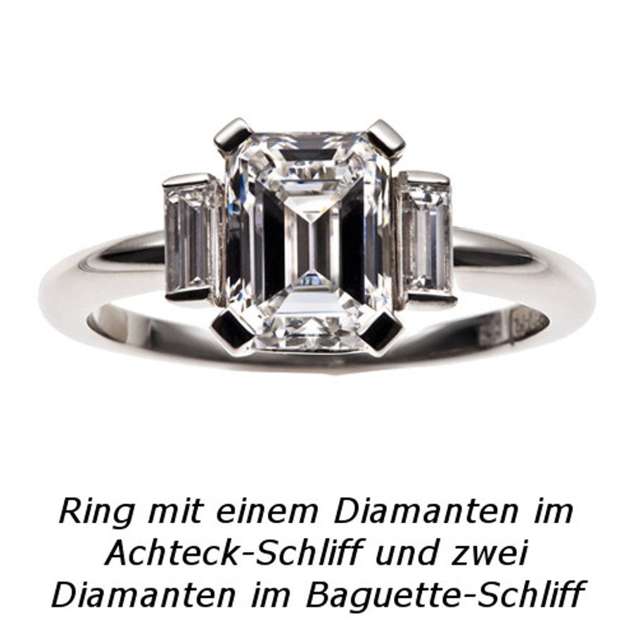Ring in 750 Weißgold mit Diamant im Achteck-Schliff und Diamant-Baguettes