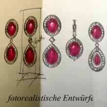 Entwürfe für Ohrringe mit Rubin Cabochon und Brillanten