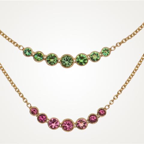 Goldketten mit roten und grünen Turmalinen
