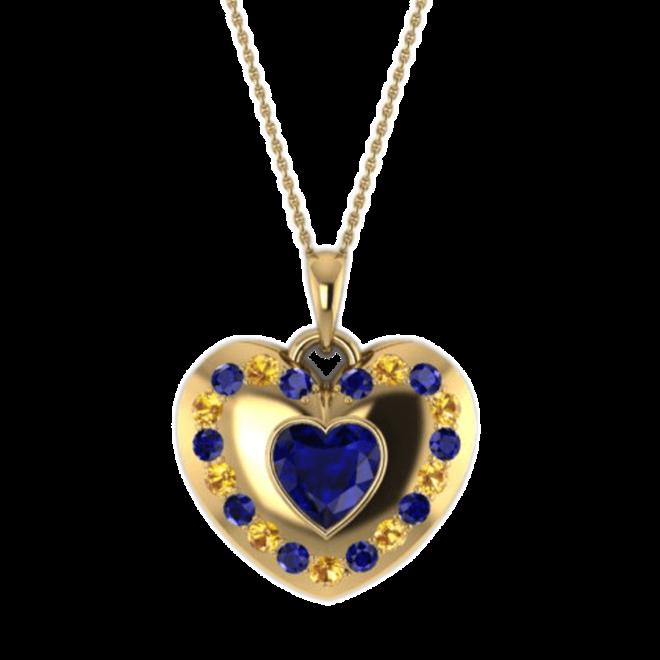 goldener Anhänger mit blauen und gelben Safiren und einem facettieten Safir-Herz in der Mitte