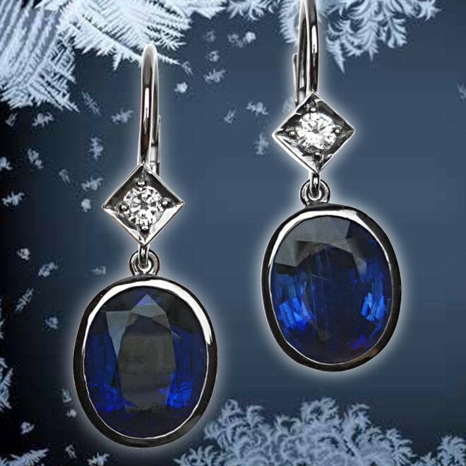 Ohrringe mit Brillanten und safirblauen Kyaniten