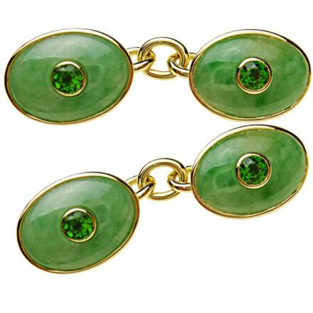 Manschettenknöpfe in 750 Gold mit hellgrünen Jadeiten und facettierten grünen Chomdiopsiden