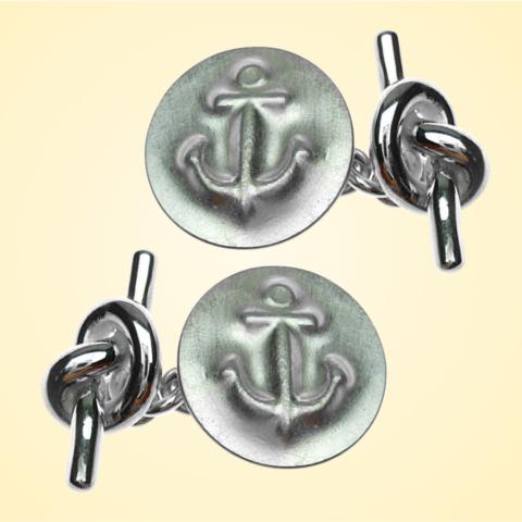 Manschettenknöpfe, Anker-Motiv, 925/- Silber, Einzelstücke, Goldschmiede-Anfertigung