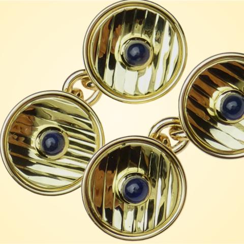 Manschettenknöpfe mit kleinen runden Safiren