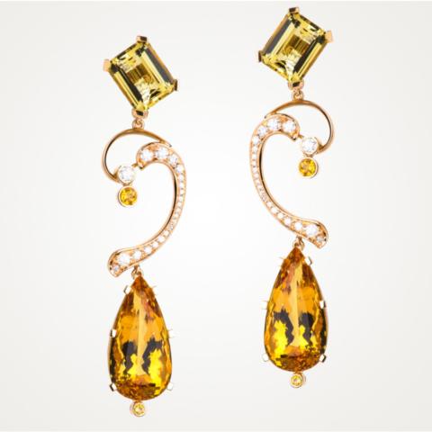 Ohrringe mit gelben facettierten Berylltropfen und Beryll-Achtecken, gelben Safiren und Brillanten