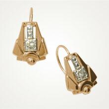 Ohrringe im Art-Deco-Stil in 585 Rotgold mit Brillanten