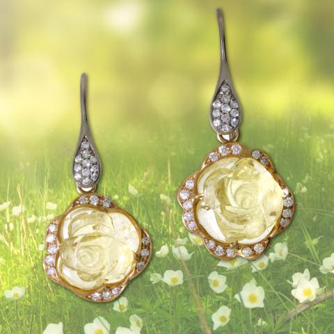 Ohrringe in 750 Gelbgold und Weissgold mit gelben Beryllen graviert in Rosenform und Brillanten