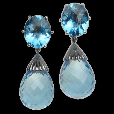Ohrringe mit Blautopas in 750 Weißgold