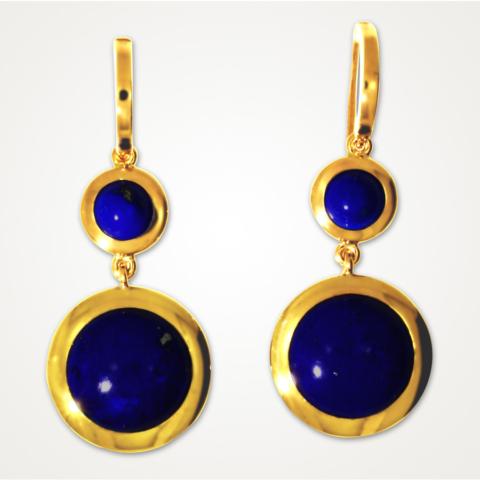 Ohrringe mit 4 Lapis Lazuli Cabochons in 750ger Gelbgold
