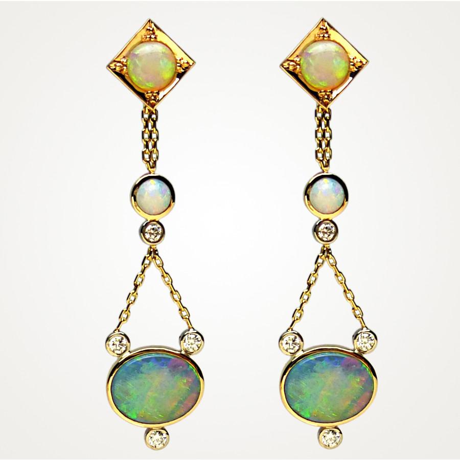 Ohrhänger mit Opalen und Brillanten
