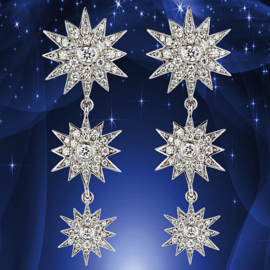 Sternen-Ohrringe aus Weißgold, besetzt mit Brillanten