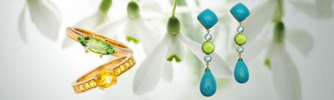 Ohrringe mit Türkisen und Tsavorithen, Ring mit gelben Safiren, Ringmit navetteförmigem Turmalin