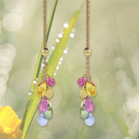 lange Ohrringe mit rosa, grünen, gelben und blauen Saphiren im Briolette-Schliff mit Plättchen in Gelbgold