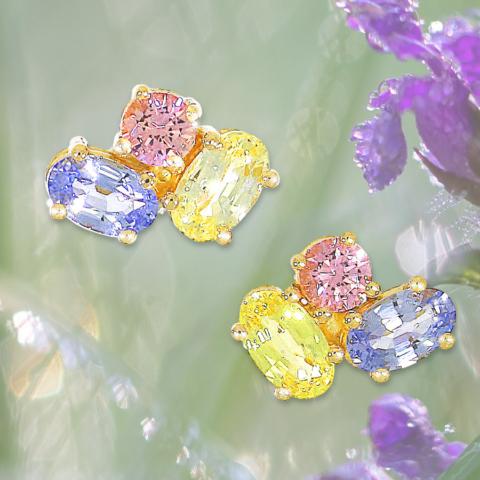 Ohrstecker mit rosa, gelben und grünen Saphiren in Krallenfassungen in Gelbgold