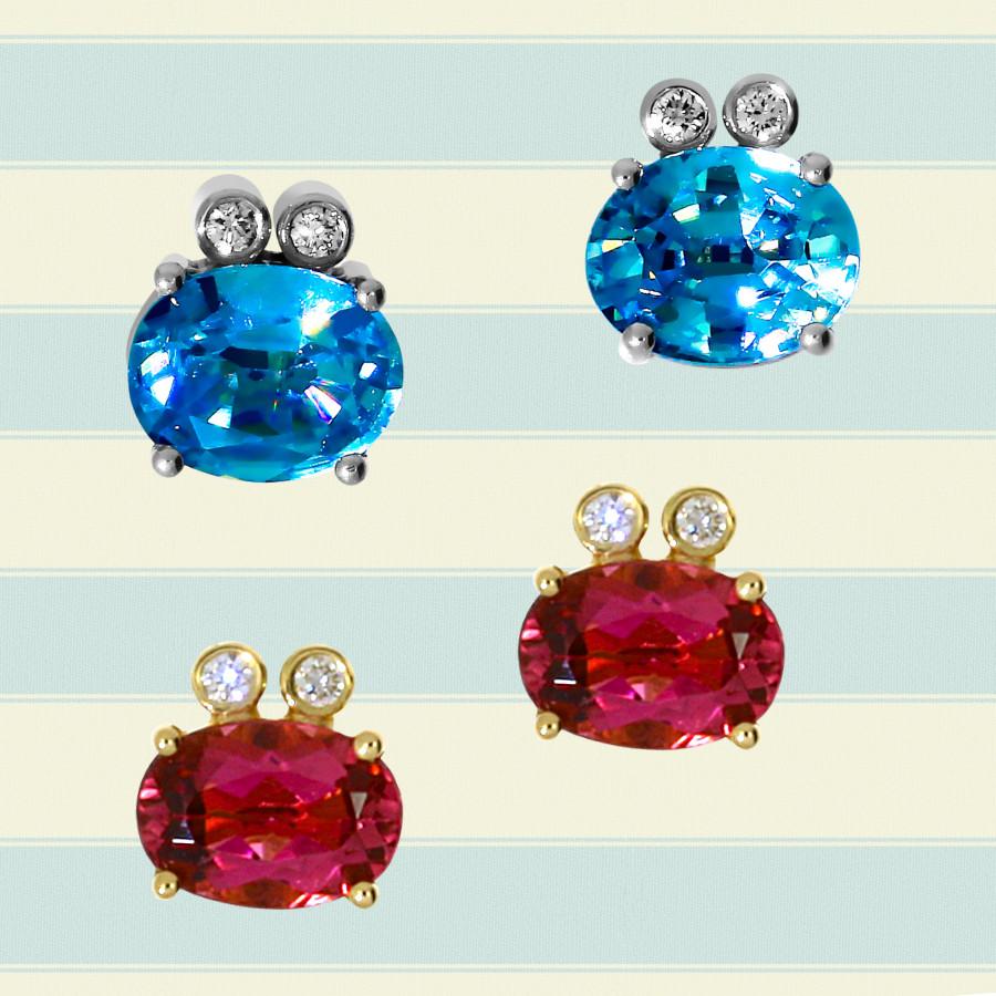 filigrane Ohrstecker aus facettierten roten Turmalinen oder blauen Zirkonen und mit kleinen Brillanten