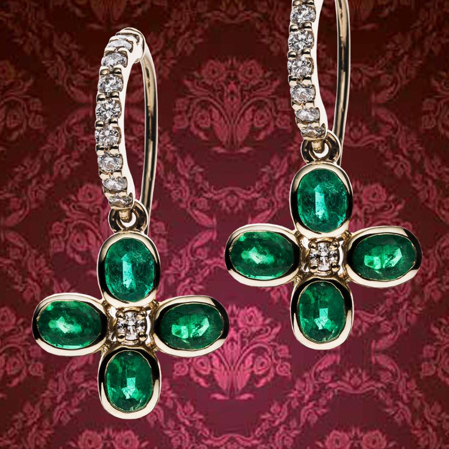 Ohrringe mit Smaragden und Brillanten