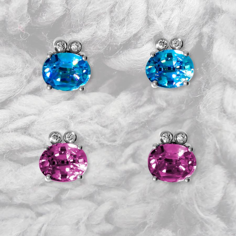 kleine Ohrstecker mit blauen Zirkonen oder roten Turmalinen und Brillanten in Weissgold