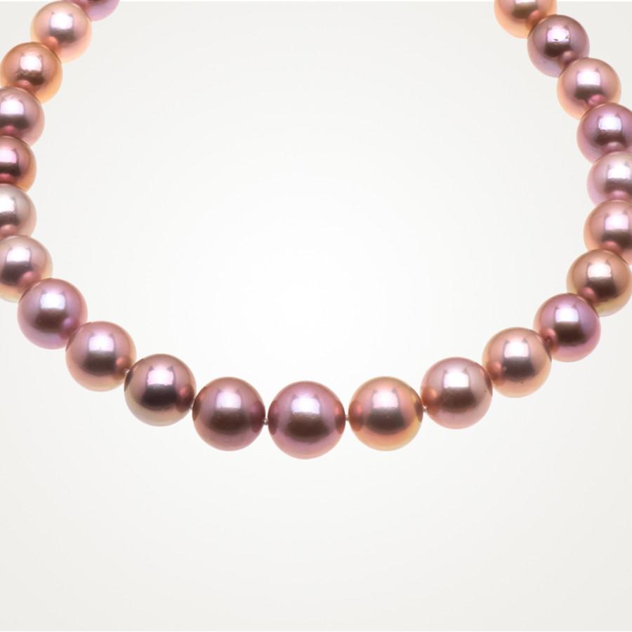 Collier mit dunkelrosa Zuchtperlen, Scarlet Pearls