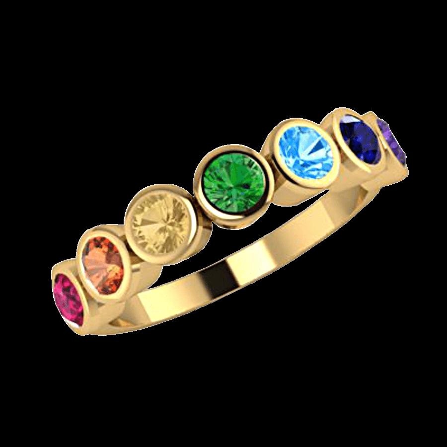Ring mit farbigen Edelsteinen in Regenbogenfarben