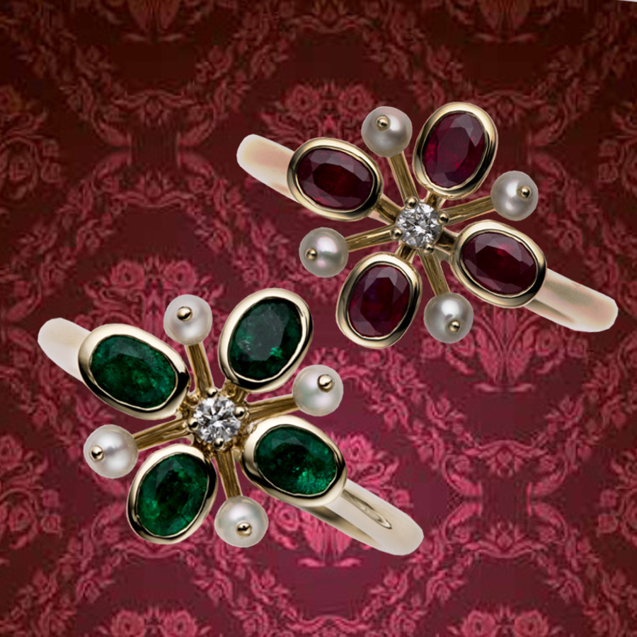 Ringe mit Rubinen oder Smaragden, Zuchtperlen und Brillanten