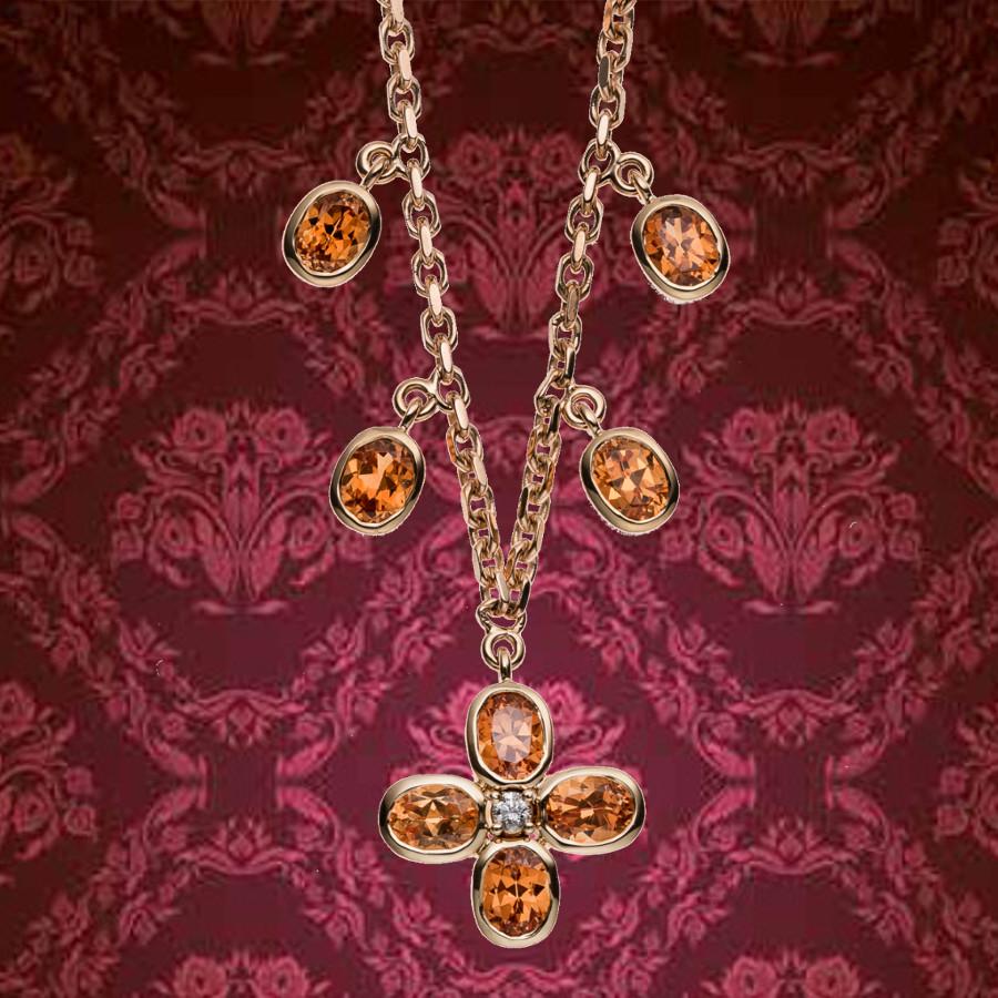 Collier mit ovalen Spessartinen (orangefarbenen Granaten) und einem Brillanten