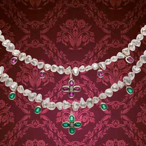 zwei seltene  barocke Zuchtperenketten aus Japanischen Akoya-Keshi-Perlen, eingerichtet mit Rubinen und Smaragden
