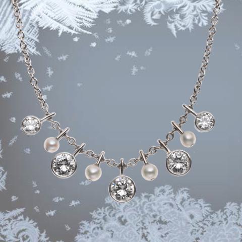 Kette mit Perlen und Brillanten