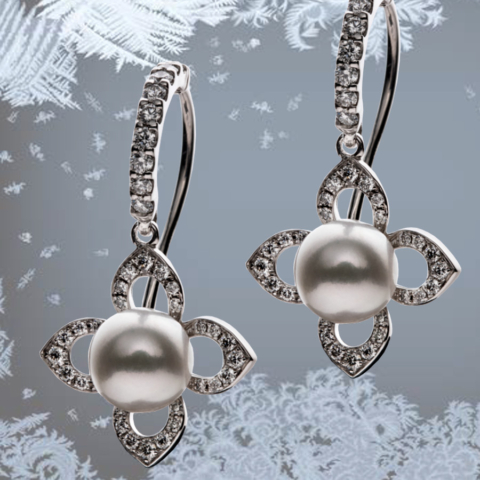 Ohrringe mit Perlen und Brillanten, Weissgold