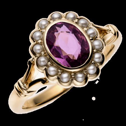 Ring pink Safir mit Perlen