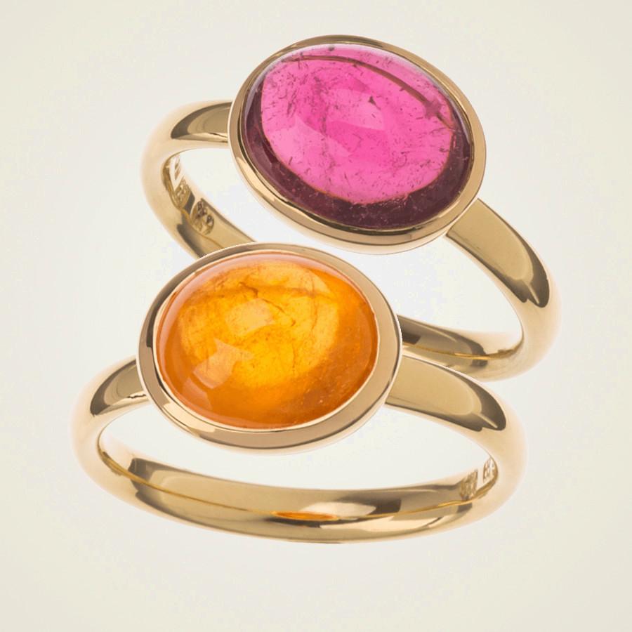 Goldring mit Cabochonstein in orange (Mandaringranat) oder rosa (Turmalin)