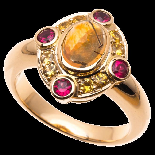 Ring mit Feueropal-Cabochon, gelben Safiren und roten Spinellen