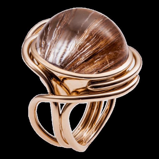 Ring in Rosegold mit Rutilquarz-Cabochon