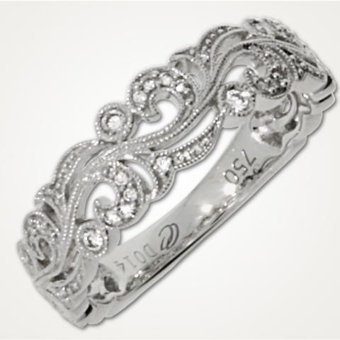 Ring in Weißgold mit Brillanten, gefasst in milles-griffes-Technik