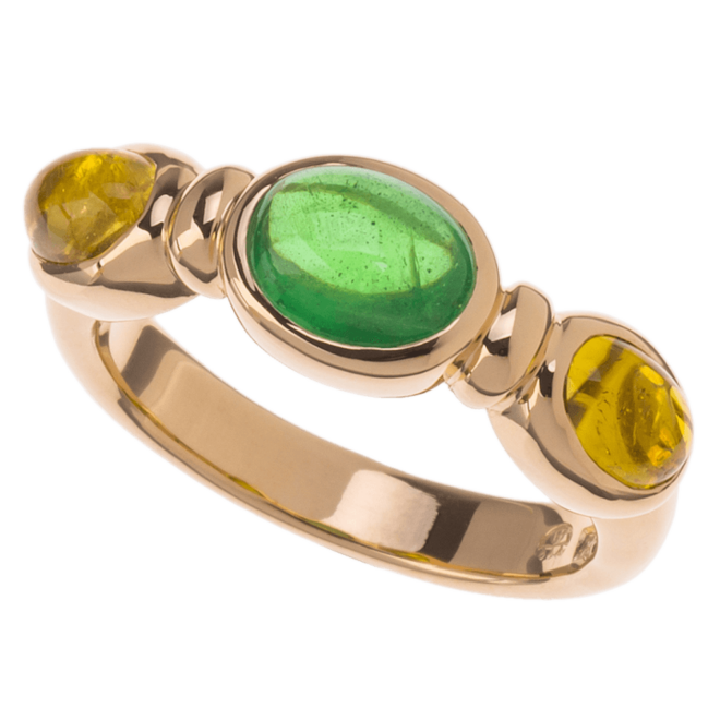 Ring Tsavorith gelbe Turmaline