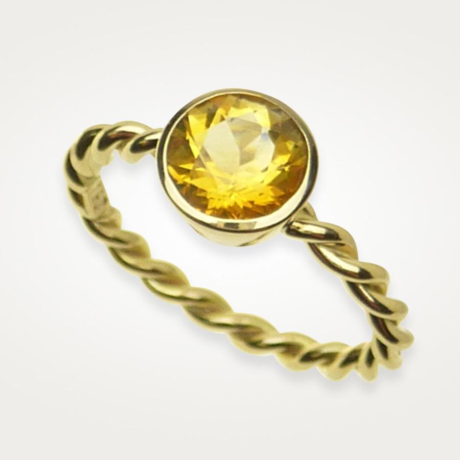 filigraner Ring mit gelbem Citrin, Gelbgold